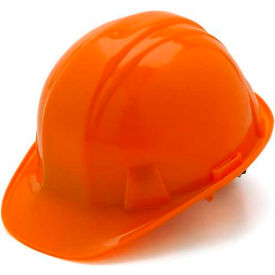 Orange Cap Style 4 Point Ratchet Suspension Hardhat Package Count 16 by