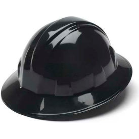 Black Full Brim Style 4 Point Ratchet Suspension Hardhat Package Count 12 by