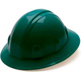 Green Full Brim Style 4 Point Ratchet Suspension Hardhat Package Count 12 by