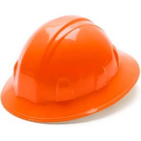 Orange Full Brim Style 4 Point Ratchet Suspension Hardhat Package Count 12 by