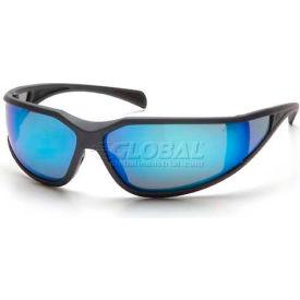 Exeter™ Eyewear Ice Blue Mirror Anti-Fog Lens , Charcoal Gray Frame - Pkg Qty 12