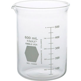 Qorpak 238708 KIMAX Griffin Beakers, 88 x 122mm, 600mL, Clear, Case of 36 by