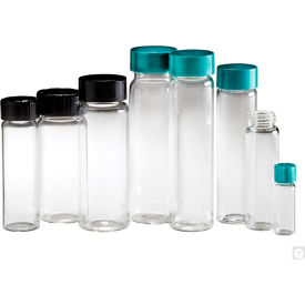 Qorpak GLC-00986 Clear Glass Screw Thread Vials with Black Caps, 2 dram (7.5ml), Case of 144