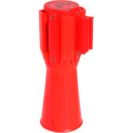 ConePro 500 Orange Traffic Cone Mount Retracting Belt Barrier, 10' Red Authorized Access Only Belt