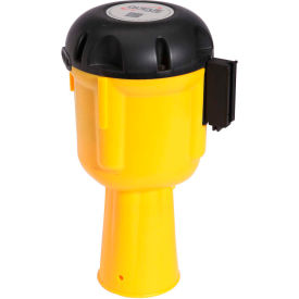 ConePro 600 Yellow Traffic Cone Mount Retracting Belt Barrier, 30' Danger Keep Out Belt
