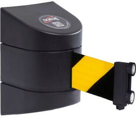 Wall Mounted Retracting Belt Barrier With Magnetic Mounting System, 15'L Yellow/Black Belt