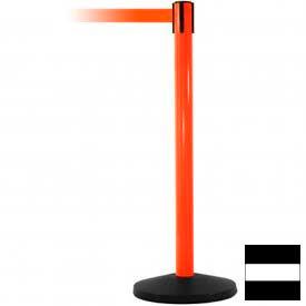Orange Post Safety Barrier, 7.5ft, Black/White Belt - Pkg Qty 2