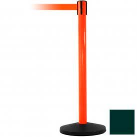 Orange Post Safety Barrier, 7.5ft, Dark Green Belt - Pkg Qty 2