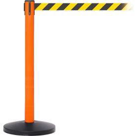 Orange Post Safety Barrier, 7.5ft, Yellow/Black Belt - Pkg Qty 2