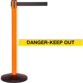 Orange Post Safety Barrier, 11 Ft., Danger Belt - Pkg Qty 2