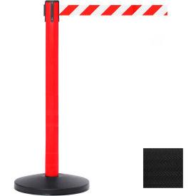 Red Post Safety Barrier, 7.5ft, Black Belt - Pkg Qty 2
