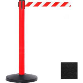 Red Post Safety Barrier, 11 Ft., Black Belt - Pkg Qty 2