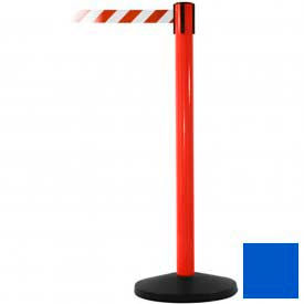 Red Post Safety Barrier, 11 Ft., Blue Belt - Pkg Qty 2