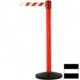 Red Post Safety Barrier, 7.5ft, Black/White Belt - Pkg Qty 2