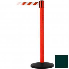 Red Post Safety Barrier, 7.5ft, Dark Green Belt - Pkg Qty 2