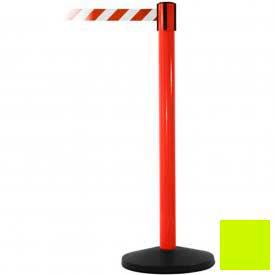 Red Post Safety Barrier, 11 Ft., Fluorescent Yellow Belt - Pkg Qty 2