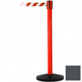 Red Post Safety Barrier, 7.5ft, Grey Belt - Pkg Qty 2