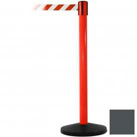 Red Post Safety Barrier, 7.5ft, Grey Belt - Pkg Qty 2