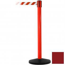 Red Post Safety Barrier, 7.5ft, Maroon Belt - Pkg Qty 2