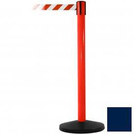 Red Post Safety Barrier, 11 Ft., Navy Blue Belt - Pkg Qty 2