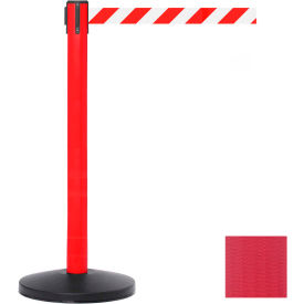 Red Post Safety Barrier, 7.5ft, Red Belt - Pkg Qty 2