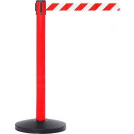 Red Post Safety Barrier, 7.5ft, Red/White Belt - Pkg Qty 2