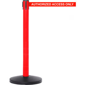 Red Post Safety Barrier, 7.5ft, Authorized Belt - Pkg Qty 2