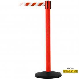 Red Post Safety Barrier, 7.5ft, Caution Belt - Pkg Qty 2