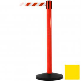 Red Post Safety Barrier, 11 Ft., Yellow Belt - Pkg Qty 2