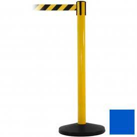 Yellow Post Safety Barrier, 7.5ft, Blue Belt - Pkg Qty 2
