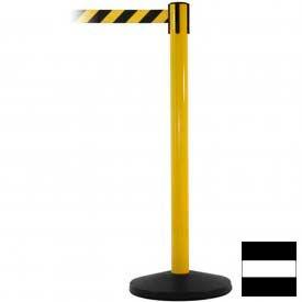 Yellow Post Safety Barrier, 7.5ft, Black/White Belt - Pkg Qty 2