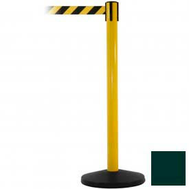 Yellow Post Safety Barrier, 7.5ft, Dark Green Belt - Pkg Qty 2