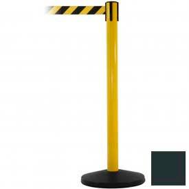 Yellow Post Safety Barrier, 7.5ft, Dark Grey Belt - Pkg Qty 2