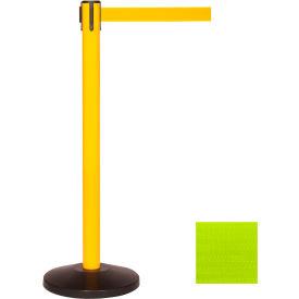 Yellow Post Safety Barrier, 7.5ft, Fluorescent Yellow Belt - Pkg Qty 2
