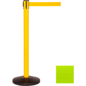 Yellow Post Safety Barrier, 11 Ft., Fluorescent Yellow Belt - Pkg Qty 2