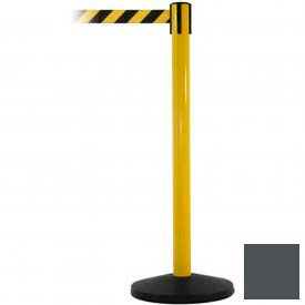 Yellow Post Safety Barrier, 7.5ft, Grey Belt - Pkg Qty 2