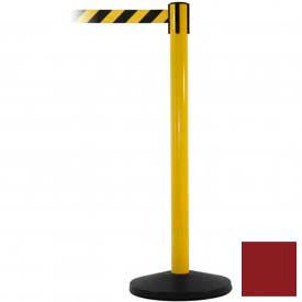 Yellow Post Safety Barrier, 7.5ft, Maroon Belt - Pkg Qty 2