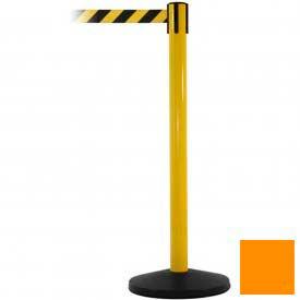 Yellow Post Safety Barrier, 7.5ft, Orange Belt - Pkg Qty 2