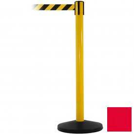Yellow Post Safety Barrier, 11 Ft., Red Belt - Pkg Qty 2