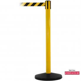 Yellow Post Safety Barrier, 7.5ft, Authorized Belt - Pkg Qty 2