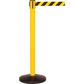 Yellow Post Safety Barrier, 7.5ft, Yellow/Black Belt - Pkg Qty 2