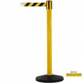 Yellow Post Safety Barrier, 7.5ft, Caution Belt - Pkg Qty 2