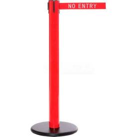 Red Post Safety Barrier, 16 Ft., Dark Grey Belt