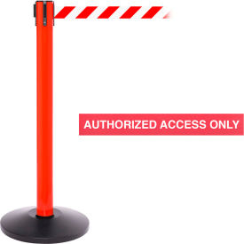 "Red Post Safety Barrier, 16 Ft., Red/White Belt ""AUTHORIZED ACCESS ONLY"""