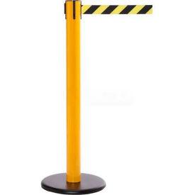 Yellow Post Safety Barrier, 16 Ft., Dark Grey Belt