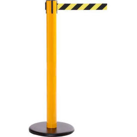Yellow Post Safety Barrier, 16 Ft., Yellow/Black Diagonal Stripe Belt Package Count 2 by