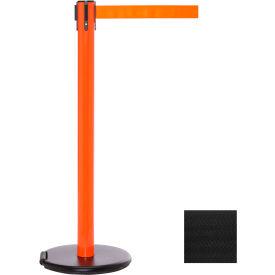 Orange Post Safety Barrier, 11 Ft., Black Belt - W/Roller Base - Pkg Qty 2