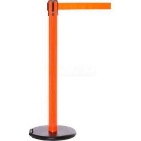 Orange Post Safety Barrier, 11 Ft., Dark Green Belt - W/Roller Base - Pkg Qty 2