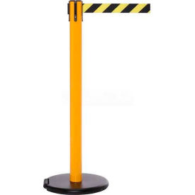 Yellow Post Safety Barrier, 11 Ft., Black/White Striped Belt - W/Roller Base - Pkg Qty 2