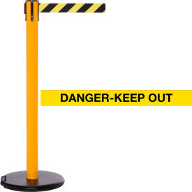 """Yellow Post Safety Barrier, 11 Ft., Yellow/Black Belt """"Danger Keep Out"""" - W/Roller Base - Pkg Qty 2"""